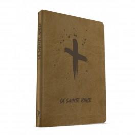 """""""Bible 988 - souple, beige, motif croix"""" Esaïe 55"""