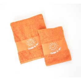 "Petit linge de bain orange ""Choisis la vie"""