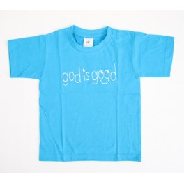 """T-shirt enfant bleu ""God is good"" taille 5-6 ans"